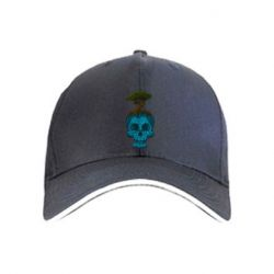 Кепка Blue skull low poly and tree