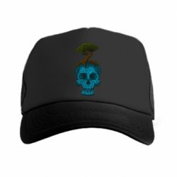 Кепка-тракер Blue skull low poly and tree