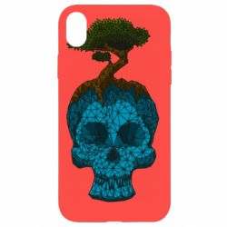 Чохол для iPhone XR Blue skull low poly and tree