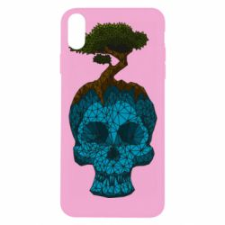 Чохол для iPhone Xs Max Blue skull low poly and tree