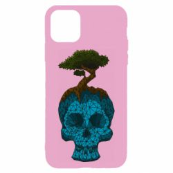 Чохол для iPhone 11 Blue skull low poly and tree