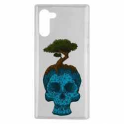 Чохол для Samsung Note 10 Blue skull low poly and tree