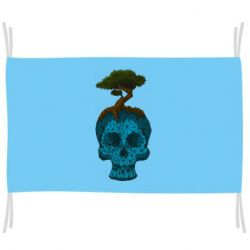 Прапор Blue skull low poly and tree
