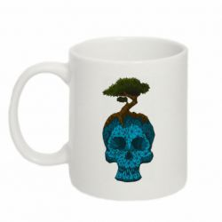Кружка 320ml Blue skull low poly and tree