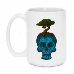 Кружка 420ml Blue skull low poly and tree