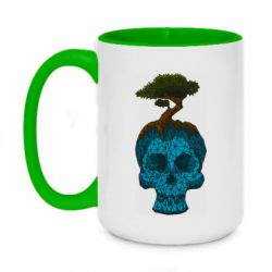 Кружка двоколірна 420ml Blue skull low poly and tree