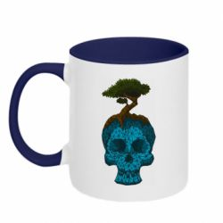 Кружка двоколірна 320ml Blue skull low poly and tree