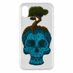 Чохол для iPhone X/Xs Blue skull low poly and tree