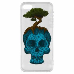 Чохол для iphone 5/5S/SE Blue skull low poly and tree