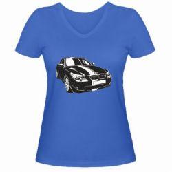 Купить Mastiks, Женская футболка с V-образным вырезом BMW car, FatLine
