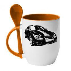 Кружка с керамической ложкой BMW car