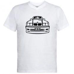 Мужская футболка  с V-образным вырезом BMW E34 - FatLine