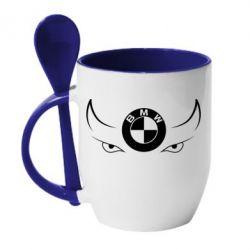 Кружка с керамической ложкой BMW eyes