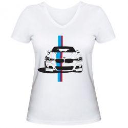 Женская футболка с V-образным вырезом BMW F30 - FatLine