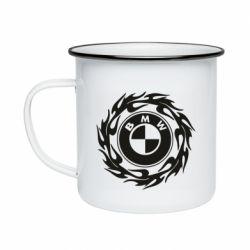 Кружка емальована BMW in the circle of fire