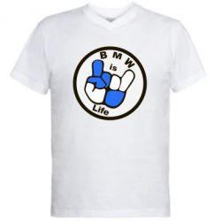 Мужская футболка  с V-образным вырезом BMW is Life - FatLine