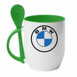 Кружка з керамічною ложкою BMW logo 2020