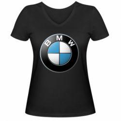 Женская футболка с V-образным вырезом BMW Logo 3D - FatLine