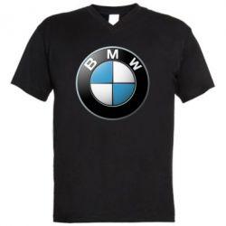 Мужская футболка  с V-образным вырезом BMW Logo 3D - FatLine