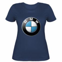 Женская футболка BMW Logo 3D - FatLine