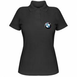 Женская футболка поло BMW Logo 3D - FatLine