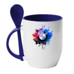 Кружка с керамической ложкой BMW logo art 2