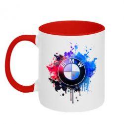 Кружка двухцветная BMW logo art 2
