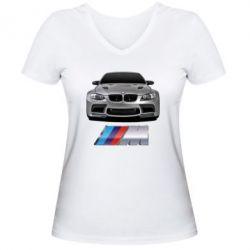 Женская футболка с V-образным вырезом BMW M Power Car - FatLine