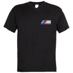 Мужская футболка  с V-образным вырезом BMW M POWER Small - FatLine