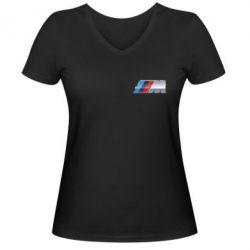 Женская футболка с V-образным вырезом BMW M POWER Small - FatLine