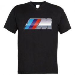 Мужская футболка  с V-образным вырезом BMW M POWER - FatLine