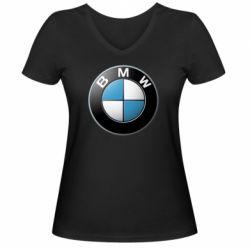 Мужская футболка  с V-образным вырезом BMW Small Logo - FatLine