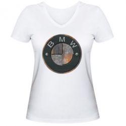 Женская футболка с V-образным вырезом BMW Steel Logo