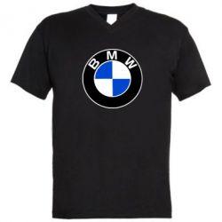 Мужская футболка  с V-образным вырезом BMW - FatLine