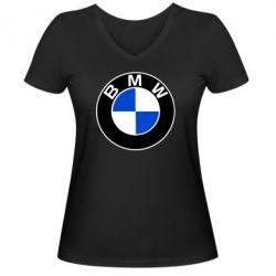 Женская футболка с V-образным вырезом BMW - FatLine