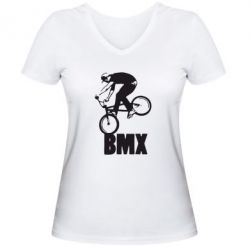 Женская футболка с V-образным вырезом Bmx Boy - FatLine
