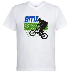 Мужская футболка  с V-образным вырезом BMX Sport - FatLine