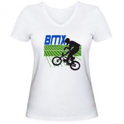 Женская футболка с V-образным вырезом BMX Sport - FatLine