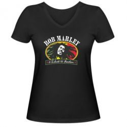 Женская футболка с V-образным вырезом Bob Marley A Tribute To Freedom - FatLine