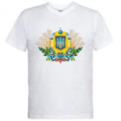 Мужская футболка  с V-образным вырезом Бог береже Україну
