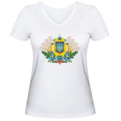 Женская футболка с V-образным вырезом Бог береже Україну