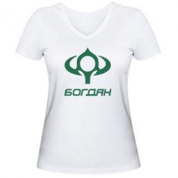 Женская футболка с V-образным вырезом Богдан - FatLine