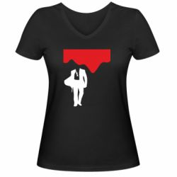 Жіноча футболка з V-подібним вирізом Bond 007 minimalism