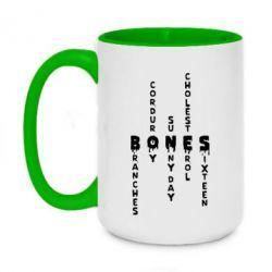 Кружка двоколірна 420ml Bones text