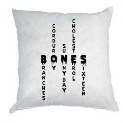 Подушка Bones text