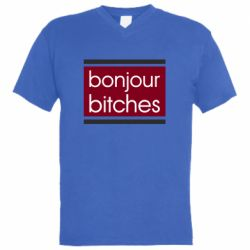 Мужская футболка  с V-образным вырезом Bonjour bitches