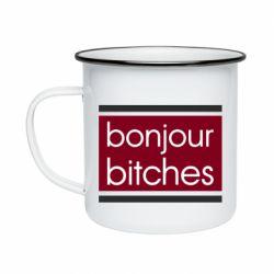 Кружка эмалированная Bonjour bitches