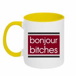 Кружка двухцветная 320ml Bonjour bitches