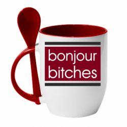 Кружка с керамической ложкой Bonjour bitches