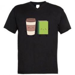 Мужская футболка  с V-образным вырезом Book & Coffee